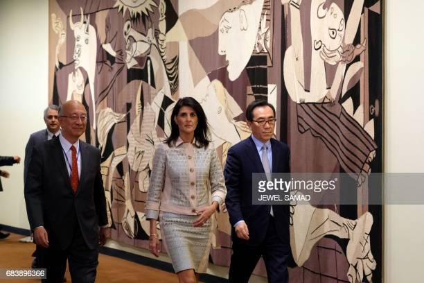 US Ambassador to the United Nations Nikki Haley Japanese Ambassador Koro Bessho and South Korean Ambassador Taeyul Cho arrive to give a press...