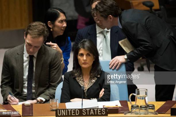 S ambassador to the United Nations Nikki Haley listens during a Security Council meeting concerning the situation in the Middle East involving Israel...