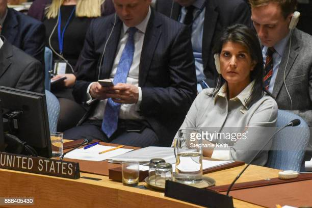 S Ambassador to the United Nations Nikki Haley listens to a speech during a United Nations Security Council meeting on the situation in Palestine at...