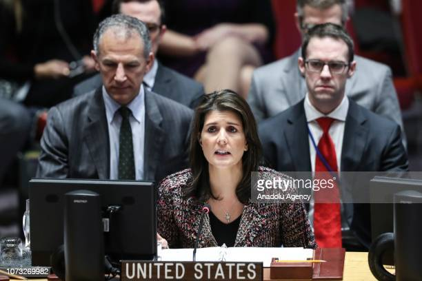 S Ambassador to the United Nations Nikki Haley makes a speech during the UN Security Council meeting on Yemen at the United Nations Headquarters in...