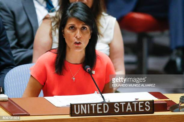 US Ambassador to the United Nations Nikki Haley speaks after voting on a USdrafted resolution toughening sanctions on North Korea at the United...
