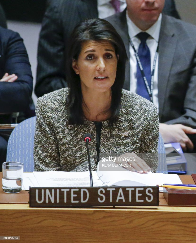 US Ambassador to the United Nations Nikki Haley speaks at a UN Security Council emergency meeting over the launch of another ballistic missile by North Korea on November 29, 2017, at UN Headquarters in New York. /