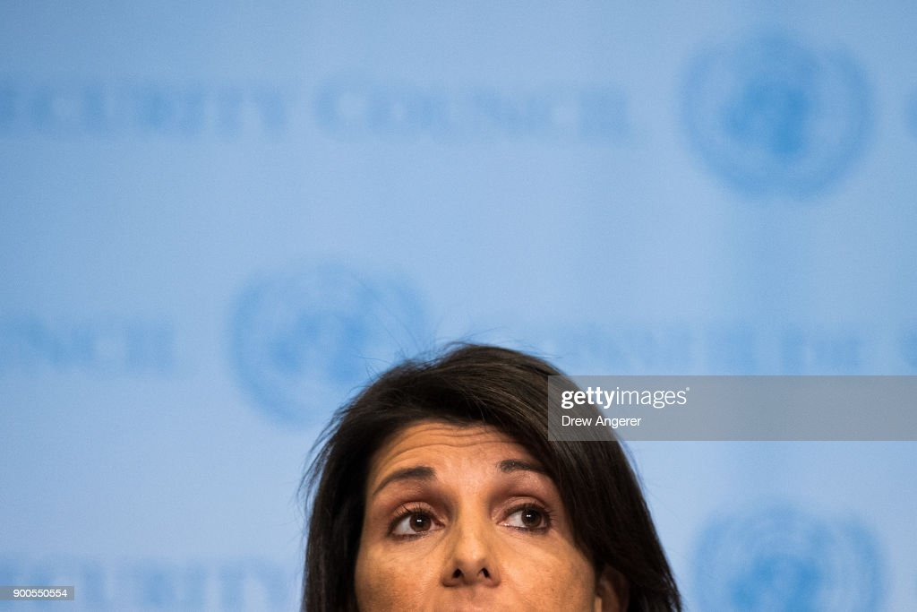 U.S. ambassador to the United Nations Nikki Haley speaks during a brief press availability at United Nations headquarters, January 2, 2018 in New York City. She discussed protests in Iran and the North Korea nuclear threat.