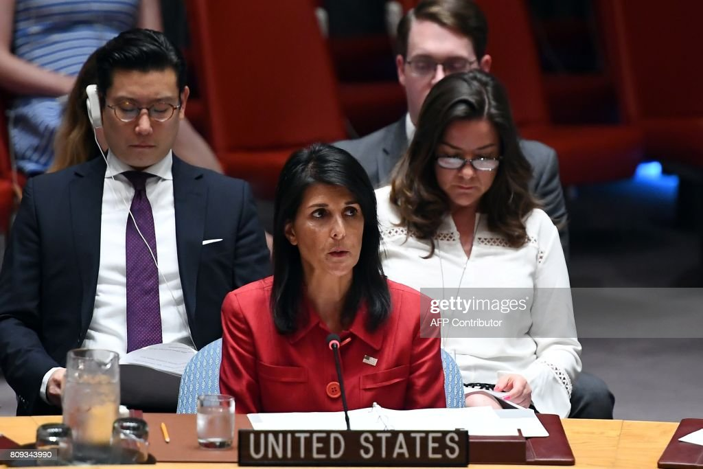 US Ambassador to the United Nations Nikki Haley speaks during a Security Council meeting on North Korea at the UN headquarters in New York on July 5, 2017. The UN Security Council held an emergency meeting after North Korea said it had successfully tested its first intercontinental ballistic missile. / AFP PHOTO / Jewel SAMAD