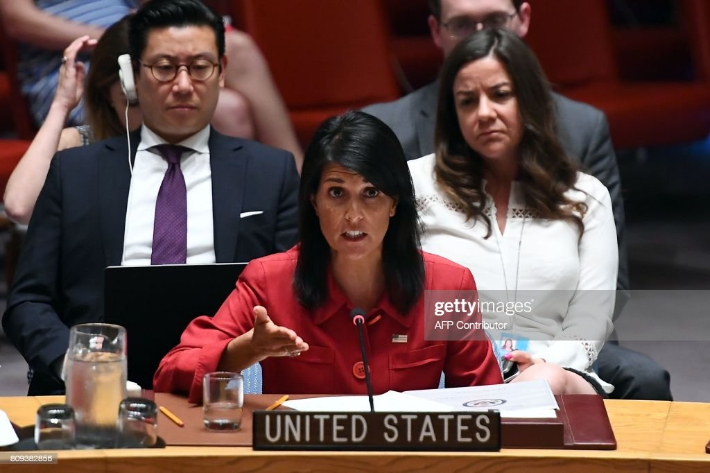 US Ambassador to the United Nations Nikki Haley speaks during a Security Council meeting on North Korea at the UN headquarters in New York on July 5, 2017. The United States will present to the UN Security Council a new draft resolution imposing sanctions on North Korea after it launched its first intercontinental ballistic missile, Haley said. / AFP PHOTO / Jewel SAMAD