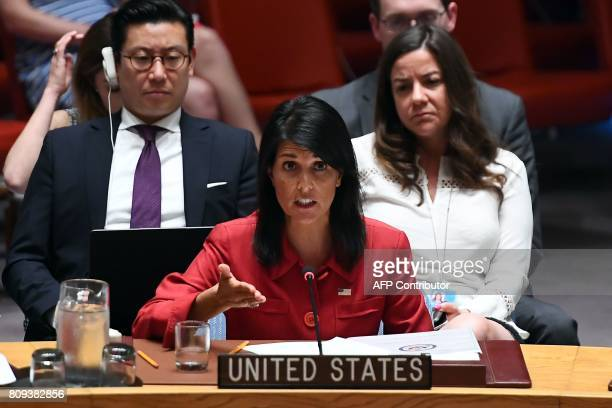 US Ambassador to the United Nations Nikki Haley speaks during a Security Council meeting on North Korea at the UN headquarters in New York on July 5...