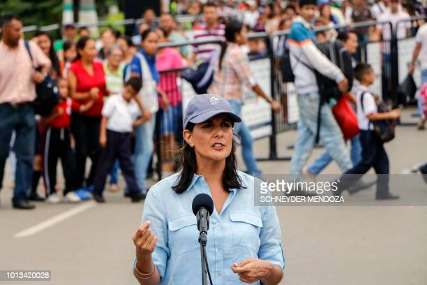 US Ambassador to the United Nations Nikki Haley speaks to the media on the Simon Bolivar International Bridge in Cucuta Colombia in the border with...