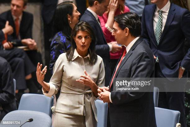 S Ambassador to the United Nations Nikki Haley speaks with Israeli Ambassador to the United Nations Danny Dannon before a United Nations Security...
