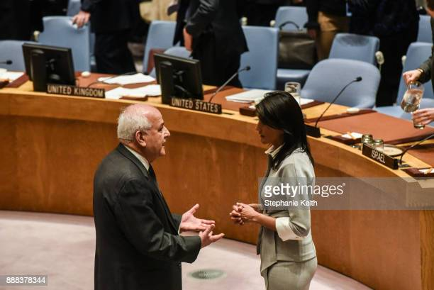 S Ambassador to the United Nations Nikki Haley speaks with Palestinian Ambassador to the United Nations Dr Riyad H Mansour during a United Nations...