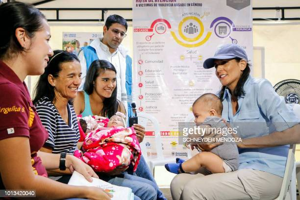 US Ambassador to the United Nations Nikki Haley speaks with Venezuelan migrants in a shelter in Cucuta Colombia near the border with Venezuela on...