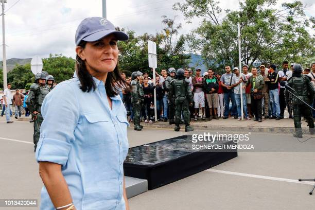 US Ambassador to the United Nations Nikki Haley stands on the Simon Bolivar International Bridge in Cucuta Colombia in the border with Venezuela on...