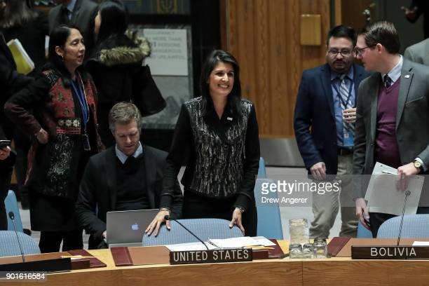 S Ambassador to the United Nations Nikki Haley takes her seat at the start of a UN Security Council meeting concerning the situation in Iran January...