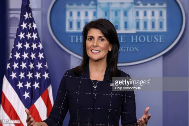 S Ambassador to the United Nations Nikki Haley talks with reporters during the daily press briefing at the White House April 24 2017 in Washington DC...