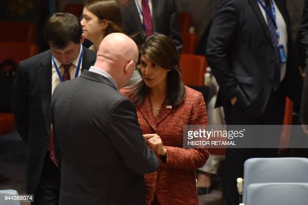 US ambassador to the United Nations Nikki Haley talks with the Russian Ambassador to the United Nations Vassily Nebenzia during a UN Security Council...