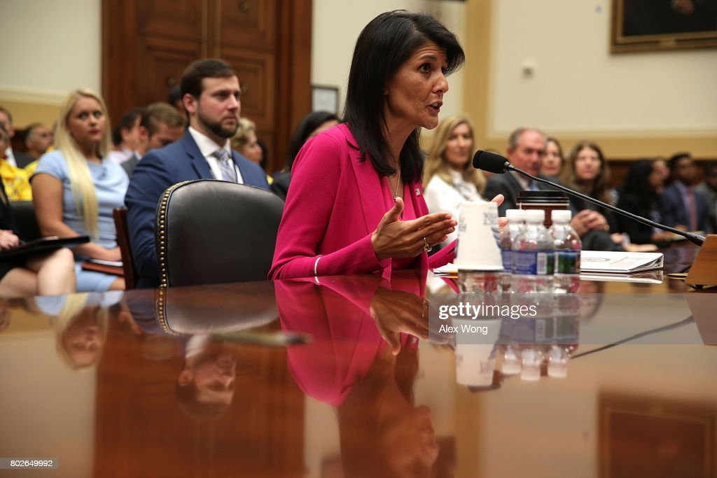 U.S. Ambassador to the United Nations Nikki Haley testifies during a hearing before the House Foreign Affairs Committee June 28, 2017 on Capitol Hill in Washington, DC. The committee held a hearing on 'Advancing U.S. Interests at the United Nations.'