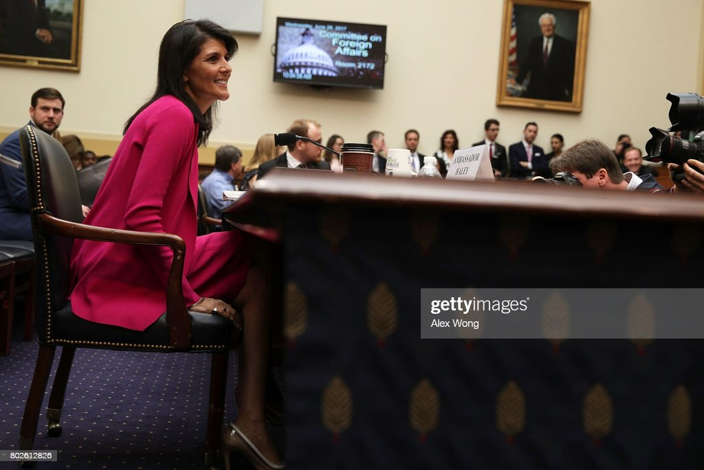 U.S. Ambassador to the United Nations Nikki Haley waits for the beginning of a hearing before the House Foreign Affairs Committee June 28, 2017 on Capitol Hill in Washington, DC. The committee held a hearing on 'Advancing U.S. Interests at the United Nations.'