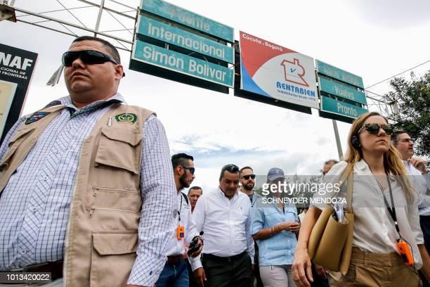 US Ambassador to the United Nations Nikki Haley walks on the Simon Bolivar International Bridge in Cucuta Colombia in the border with Venezuela on...