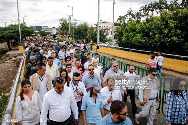 US Ambassador to the United Nations Nikki Haley walks over the Simon Bolivar International Bridge in Cucuta Colombia in the border with Venezuela on...