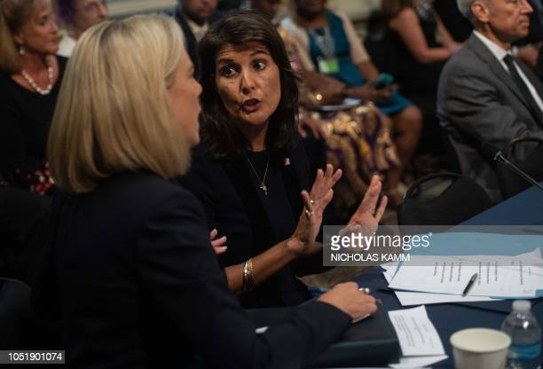 US Ambassador to the United Nations Nikki Hayley chats with Homeland Security Secretary Kirstjen Nielsen before the Interagency Task Force to Monitor...