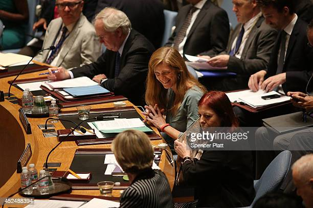 S Ambassador to the United Nations Samantha Power attends a meeting of the United Nations Security Council to discuss the shooting down of a Malaysia...