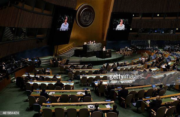 US Ambassador to the United Nations Samantha Power speaks at the UN headquarters in New York on January 22 2015 during an informal meeting of the...