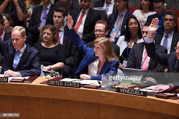US Ambassador to the United Nations Samantha Power votes along with other Security Council members on the Iran resolution at the UN headquarters in...