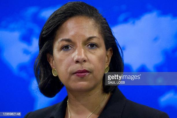 Ambassador to the United Nations Susan Rice speaks about the independence of South Sudan during a briefing at the US State Department in Washington,...