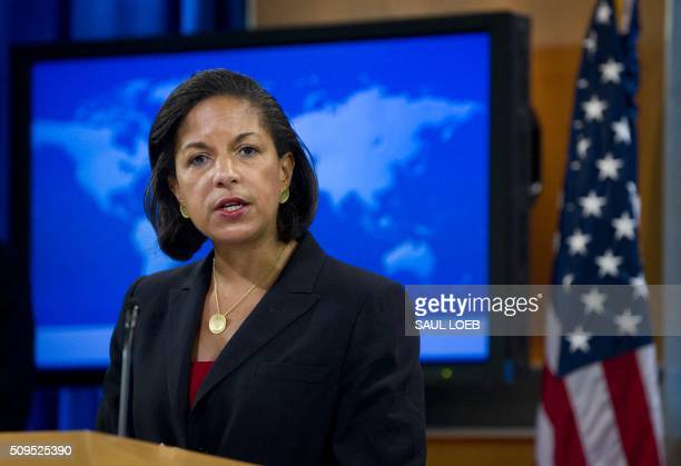 US Ambassador to the United Nations Susan Rice speaks about the independence of South Sudan during a briefing at the US State Department in...