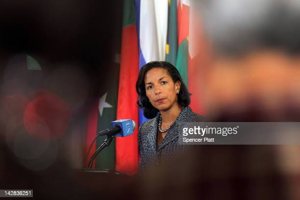 Ambassador to the United Nations Susan Rice speaks to the media following Security Council consolations over the situation in North Korea April 13,...