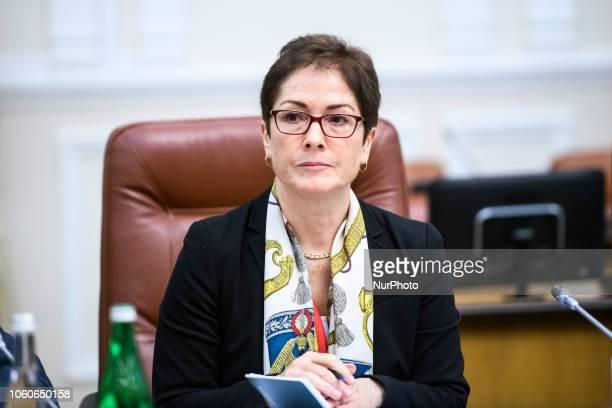 US Ambassador to Ukraine Marie Yovanovitch during a meeting with Prime Minister of Ukraine Volodymyr Groysman Kyiv Ukraine November 12 2018