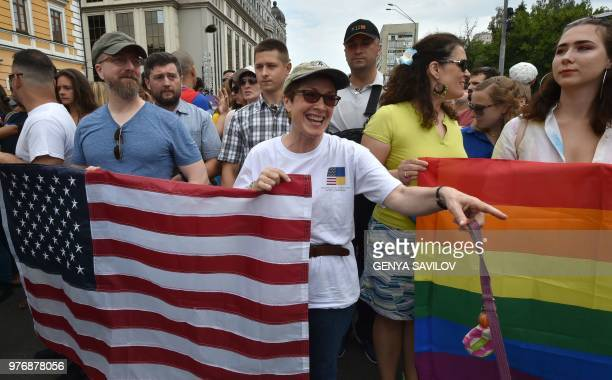 US Ambassador to Ukraine Marie Yovanovitch takes part in the gay pride march in central Kiev on June 17 2018 Several thousand people took part in...