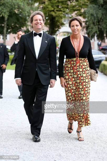 Ambassador Trevor D Traina and Pia Hahn Marocco during the ISA gala at Schloss Leopoldskron on July 26 2018 in Salzburg Austria