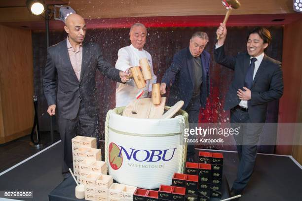 Ambassador Yousef Al Otaiba Nobu Matsuhisa Robert De Niro and Nobu Restaurants COO Hiro Tahara at Nobu Washington DC Sake Ceremony on October 29 2017...