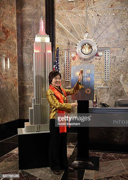 Ambassador Zhang Qiyue, Consul General of the People's Republic Of China Lights The Empire State Building on January 26, 2017 in New York City.