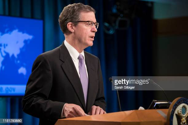 S AmbassadoratLarge for International Religious Freedom Sam Brownback delivers remarks following a briefing from US Secretary of State Mike Pompeo on...
