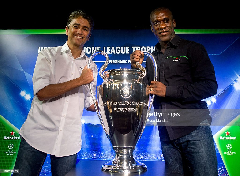 Uefa champions league trophy tour 2013 ambassadors bebeto l and clarence seedorf pose with the uefa champions league trophy during voltagebd Images