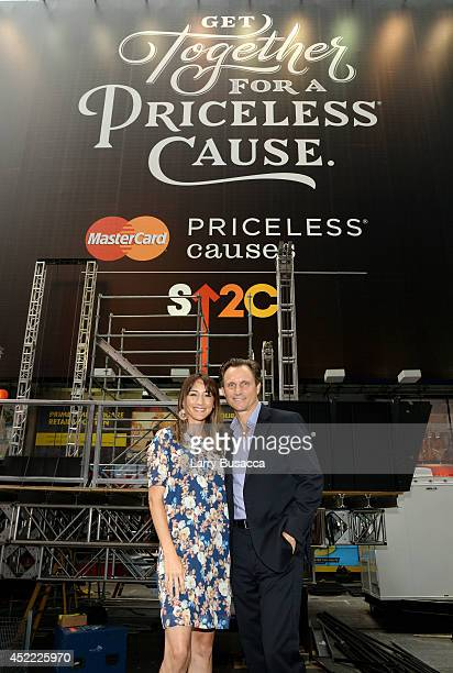 Ambassadors Bree Turner and Tony Goldwyn join as MasterCard and Stand Up To Cancer Launch The Priceless Table in Times Square on July 16 2014 in New...