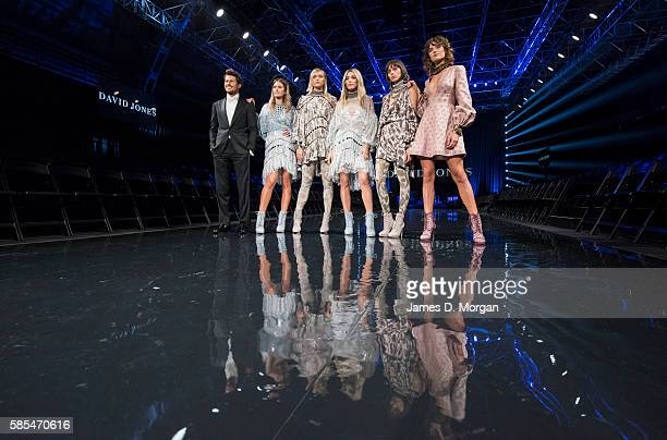 Ambassadors for David Jones, Jesinta Campbell , Jason Dundas and Jessica Gomes with other models during rehearsals ahead of the David Jones...