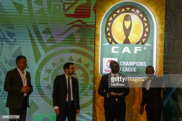 Ambassadors for the CAF Interclubs Angolan Gilberto and South African Mark Fish assist CAF General Secretary Amr Fahmy and CAF Deputy General...