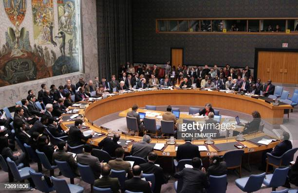 Ambassadors gather during a United Nations Security Council meeting on broader sanctions against Iran 24 March 2007 at the United Nations in New York...