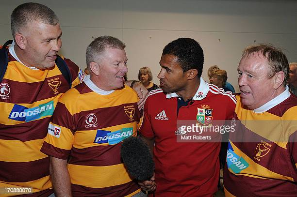 Ambassadors Jason Robinson and George Gregan meet British and Irish Lions fans at Brisbane Airport on June 20 2013 in Brisbane Australia
