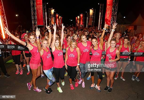 Ambassadors Laura Dundovic Liberty Watson Cheyenne Tozzi Kirsty Godso Bec Wilcox and Ashley Freeman at the start line during 2014 Nike She Runs The...