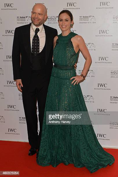Ambassadors Marc Forster and Emily Blunt attend the IWC Filmmaker Award Night 2014 at The One Only Royal Mirage on December 11 2014 in Dubai United...