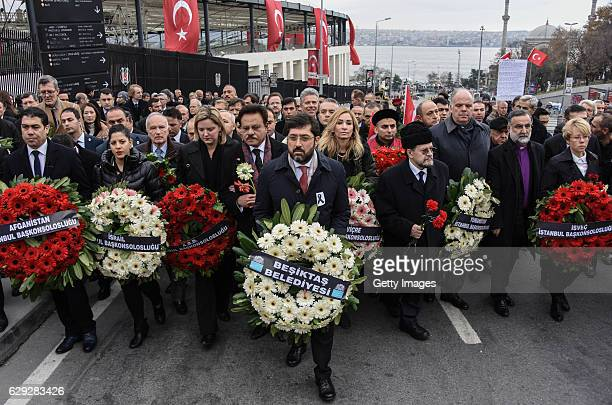 Ambassadors of EU countries and representatives of foreign missions in Turkey visit the blast site outside the Besiktas FC's Vodafone Arena Stadium...