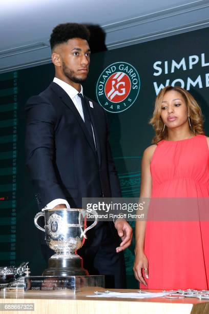 Ambassadors of Olympic Games of Paris 2024 and Olympic Champions of Boxe Tony Yoka and Estelle Mossely make the draw during the 2017 Roland Garros...