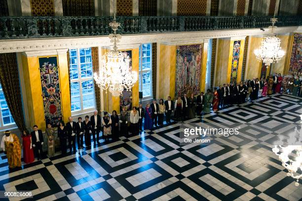 Ambassador's to Denmark are lined up to be welcomed by Queen Margrethe of Denmark at the Traditional New Year's Banquet for foreign diplomats hosted...