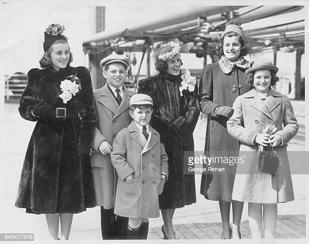 Ambassador's wife sails for England accompanied by five of her children. New York City: Mrs. Joseph P. Kennedy and five of the nine Kennedy children...