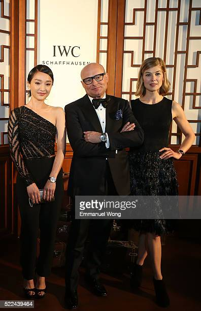 Ambassadors Zhou Xun Rosamund Pike and IWC CEO Georges Kern attend the IWC 'For the love of Cinema' Gala Dinner at the Beijing International Film...