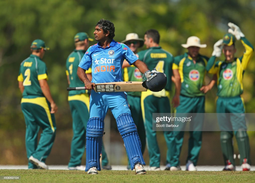 Ambati Rayudu of India 'A' speaks to the umpires after being dismissed during the Cricket Australia Quadrangular Series Final match between Australia 'A' and India 'A' at Marrara Oval on August 2, 2014 in Darwin, Australia.