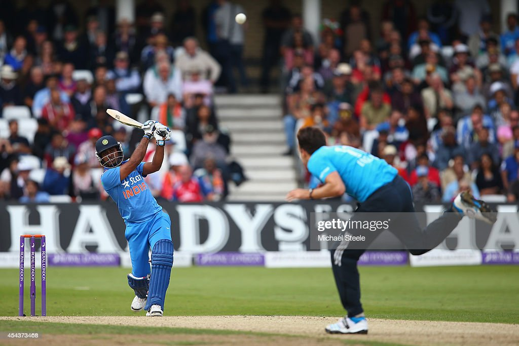 Ambati Rayudu of India hits a straight four past Steven Finn of England during the third Royal London One-Day Series match between England and India at Trent Bridge on August 30, 2014 in Nottingham, England.